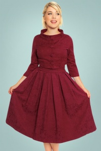 Lindy Bop Marianne Burgundy Swing Dress 102 20 22907 20171019 0023