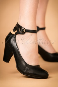 40s Cabriole Leather Pumps in Black