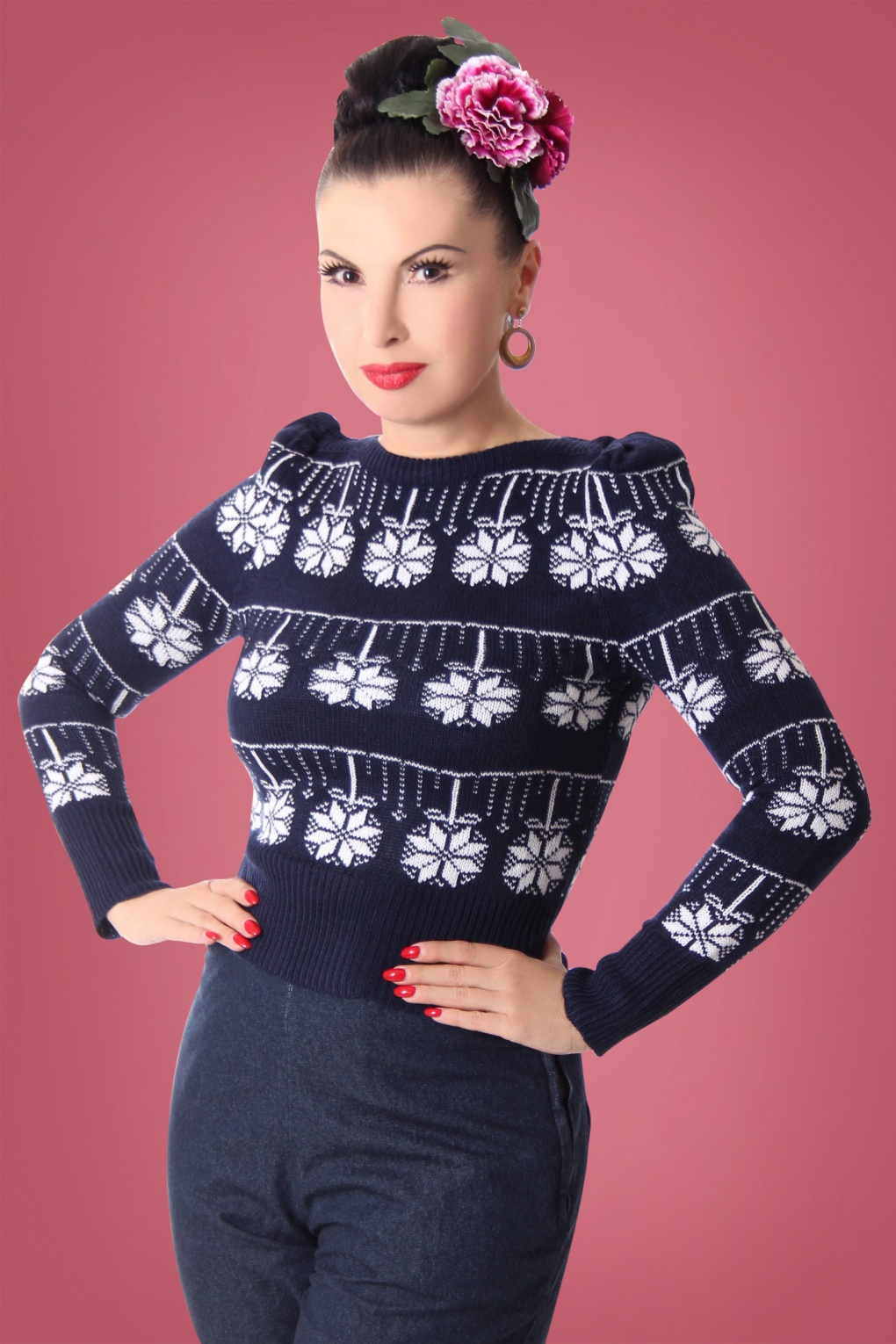 Vintage Sweaters: Cable Knit, Fair Isle Cardigans & Sweaters 50s Melika Jumper in Marine and White £34.91 AT vintagedancer.com