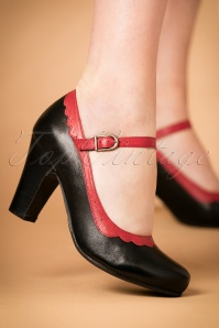 50s Josie Mary Jane Leather Pumps in Black