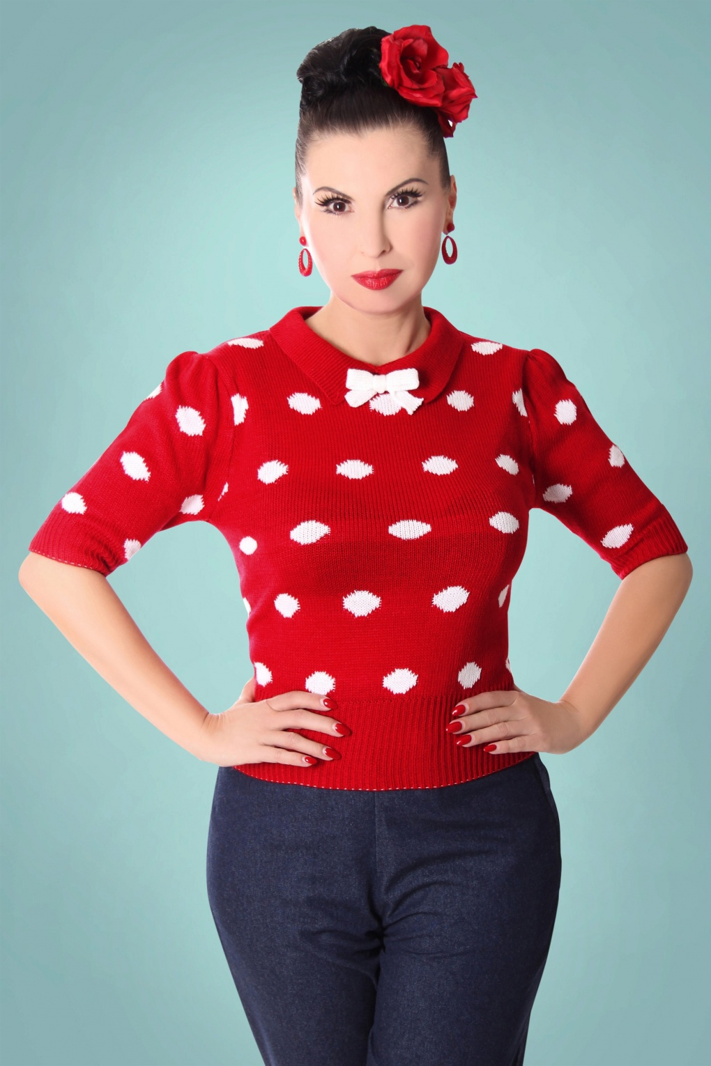 Vintage Sweaters: Cable Knit, Fair Isle Cardigans & Sweaters 40s Gina Polkadots Jumper in Red and White £35.51 AT vintagedancer.com
