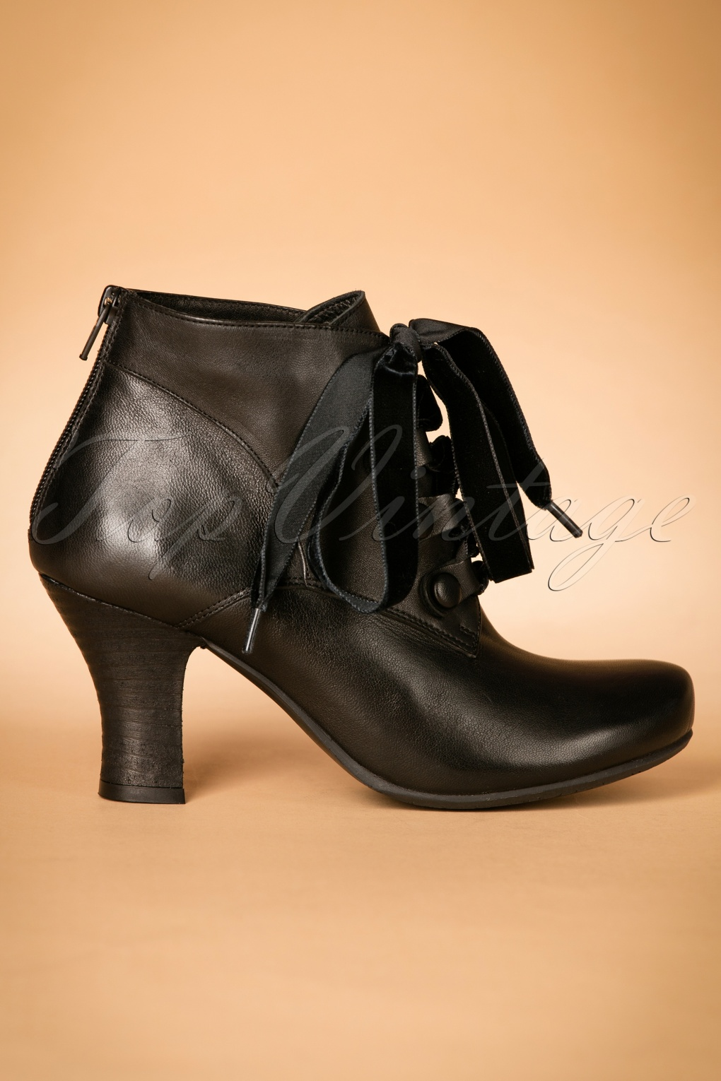 Retro Boots, Granny Boots, 70s Boots 40s Kathy Lace Up Leather Booties in Black £142.17 AT vintagedancer.com