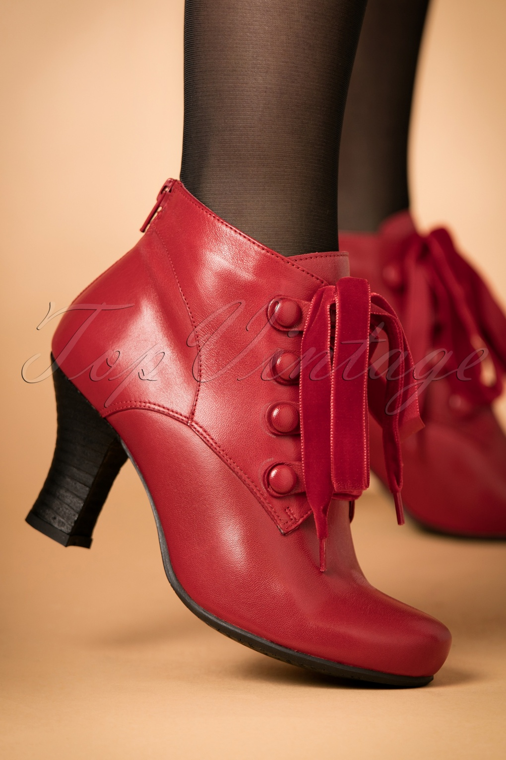 Retro Boots, Granny Boots, 70s Boots 40s Kathy Lace Up Leather Booties in Red £142.17 AT vintagedancer.com
