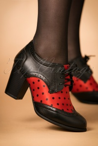 Lindy Bop Brogan Red Polka Bootie 430 20 23066 model 18102017 001W