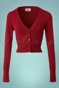 50s Lets Go Dancing Cardigan in Dark Red