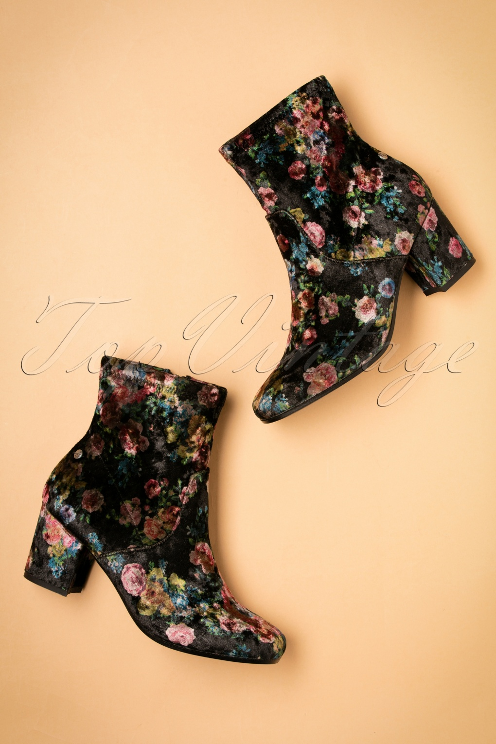 Retro Boots, Granny Boots, 70s Boots 60s Dita Floral Ankle Booties in Black £53.29 AT vintagedancer.com