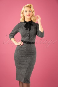 Miss Candyfloss Black and Grey Bow Pencil Dress 100 15 22130 20170922 0010