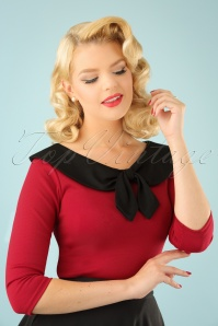 50s Betsy Tie Top in Red and Black