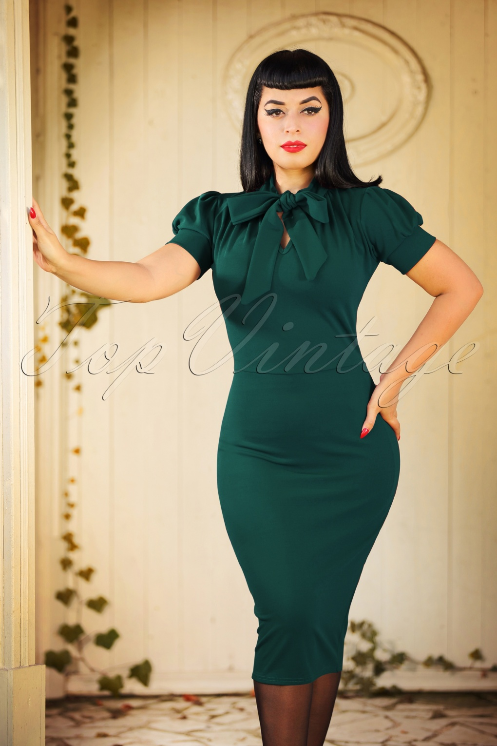 Wiggle Dresses | Pencil Dresses 40s, 50s, 60s 50s Bonnie Tie Neck Pencil Dress in Forest Green £37.84 AT vintagedancer.com