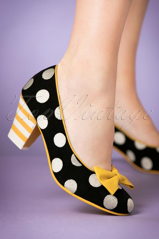 60s Shoes, Boots | 70s Shoes, Platforms, Boots 60s Elsie Strut Polkadot Pumps in Black £119.95 AT vintagedancer.com