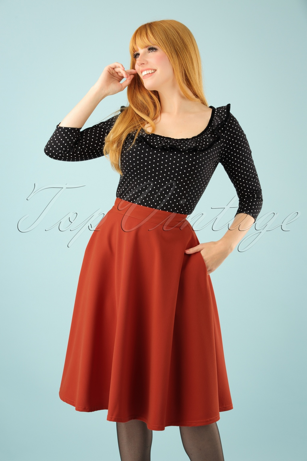 50s Beverly High Waist Swing Skirt In Rusty Red