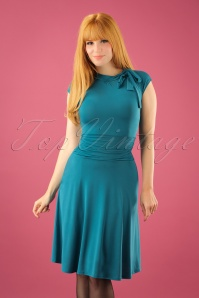 Retrolicious Emerald Blue Bow Dress 102 40 23165 20170922 0019W