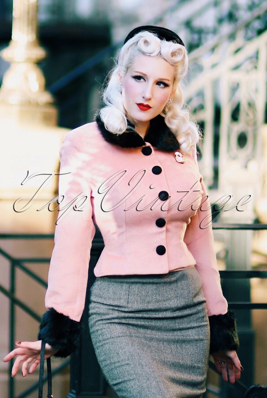 1950s Jackets, Coats, Bolero | Swing, Pin Up, Rockabilly 50s Marianne Fur Trim Jacket in Pink £87.11 AT vintagedancer.com