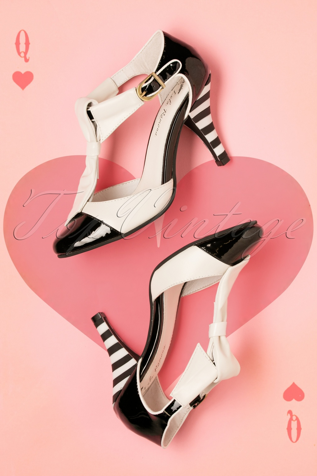 Pin Up Shoes- Heels & Flats 40s Stiletto T-Strap Pumps in Black and White £133.28 AT vintagedancer.com
