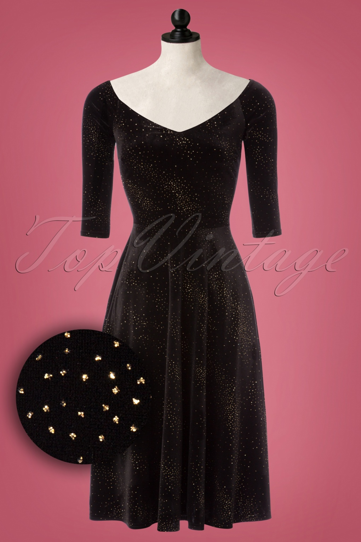 50s Judy Velvet Glitter Swing Dress in Black