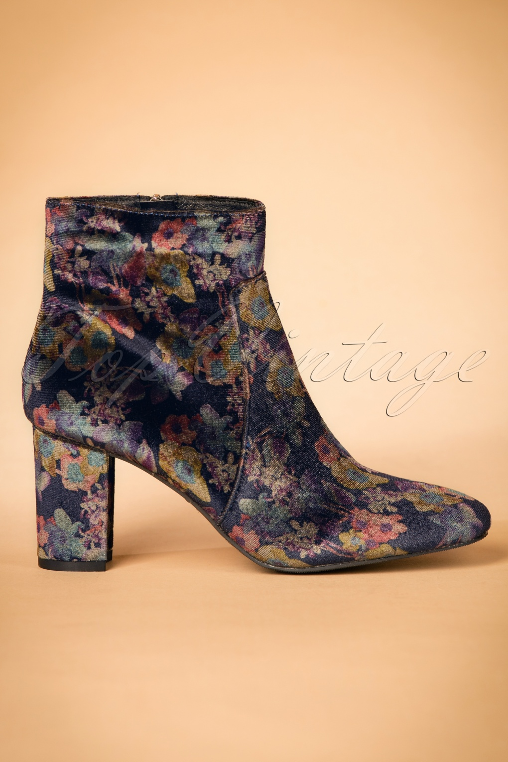 Retro Boots, Granny Boots, 70s Boots 60s Velvet Floral Ankle Booties in Indigo Blue £52.67 AT vintagedancer.com
