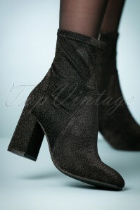 70s Metallic Disco Booties in Black