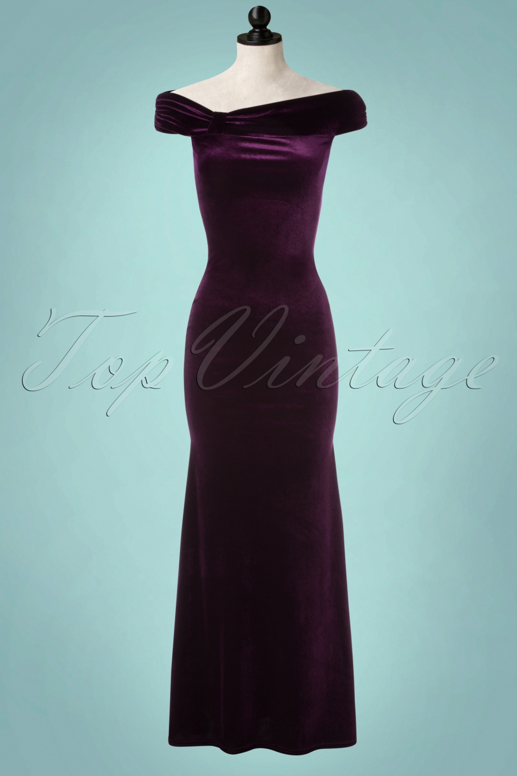 1950s Prom Dresses & Party Dresses 50s Pamela Velvet Maxi Dress in Purple £66.62 AT vintagedancer.com