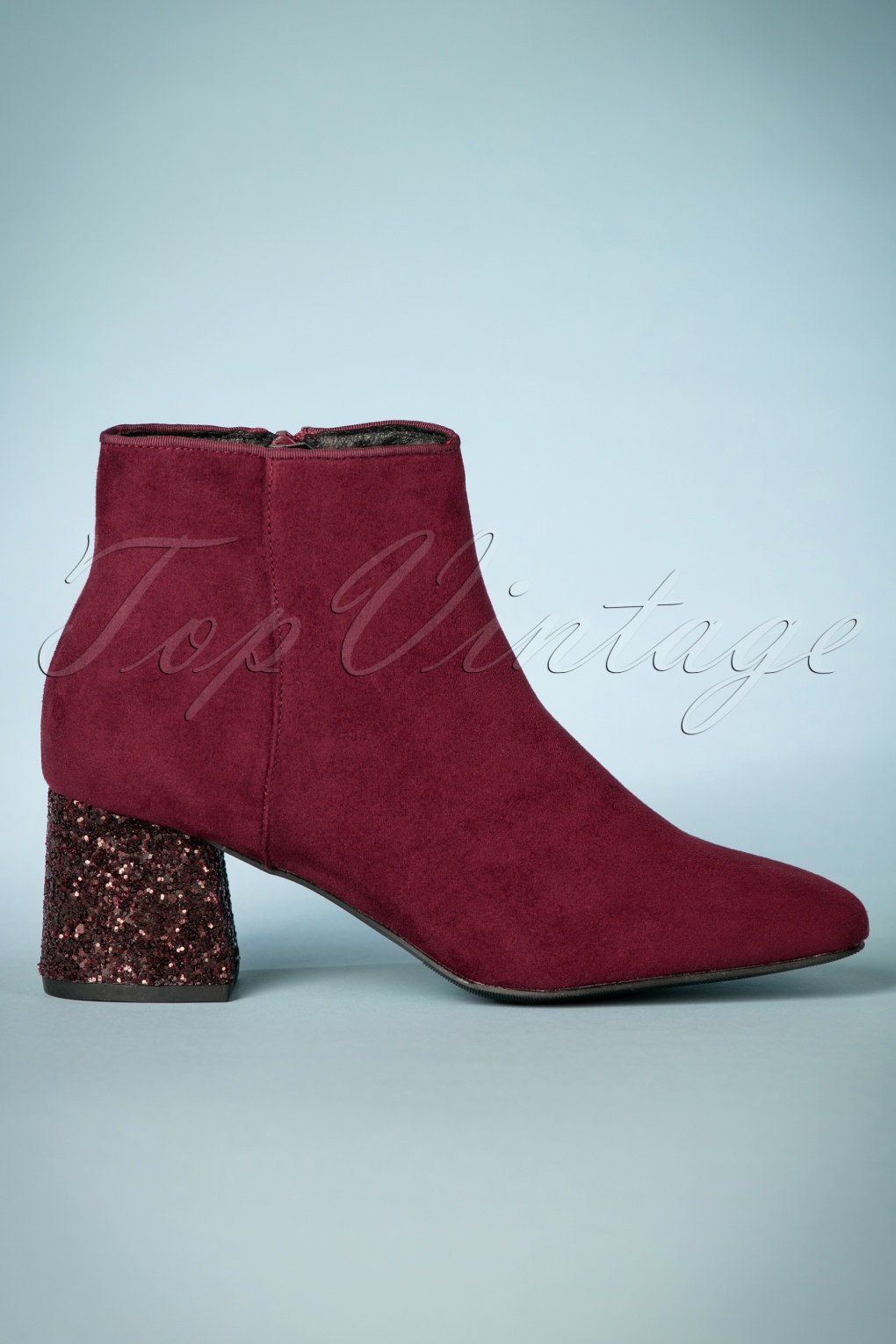 Retro Boots, Granny Boots, 70s Boots 70s Ankle Booties in Bedazzling Burgundy £53.29 AT vintagedancer.com
