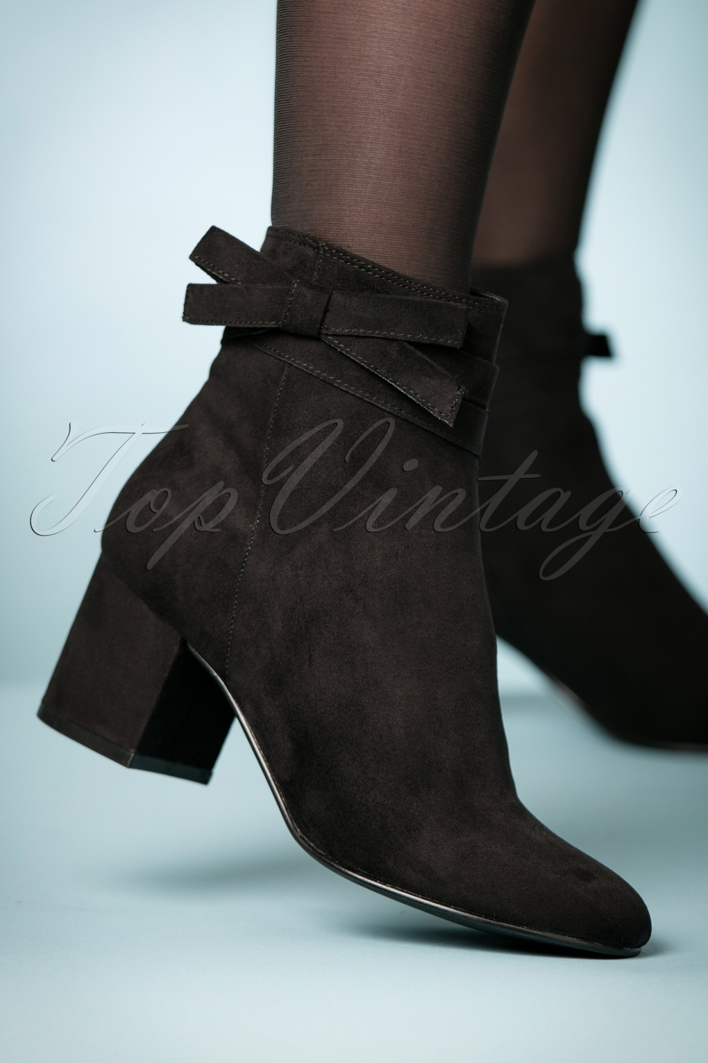Retro Boots, Granny Boots, 70s Boots 60s Classy Bow Ankle Booties in Black £57.73 AT vintagedancer.com