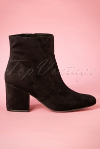 60s Victoria Velvet Ankle Booties in Black