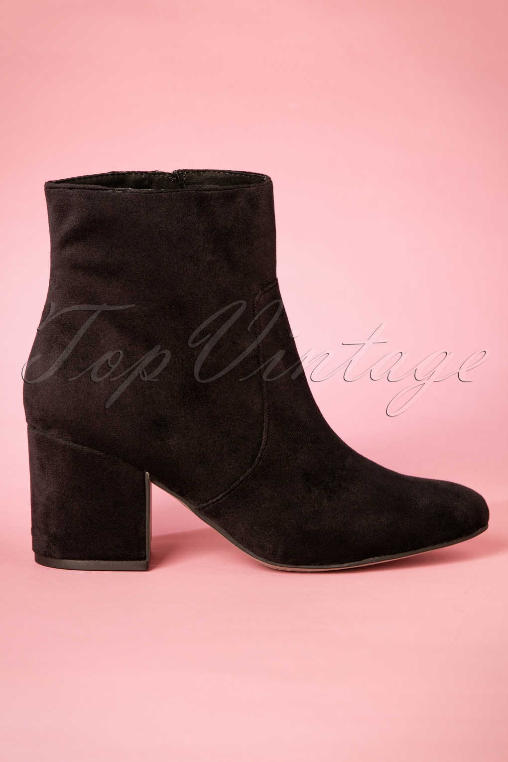 Retro Boots, Granny Boots, 70s Boots 60s Victoria Velvet Ankle Booties in Black £62.17 AT vintagedancer.com