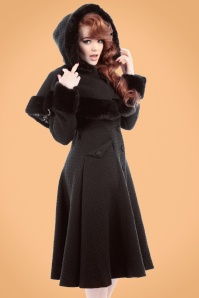 40s Anoushka Princess Coat And Cape in Black Wool