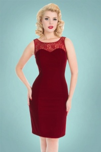 Hearts and Roses Red Velvet Lace Pencil Dress 100 20 22731 20171025 0008