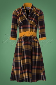Miss Candyfloss TopVintage Exclusive Navy Tartan Swing Dress 102 39 22139 20171025 0013W