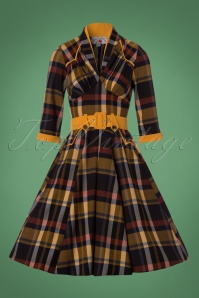 Miss Candyfloss TopVintage Exclusive Navy Tartan Swing Dress 102 39 22139 20171025 0004W