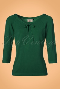 50s Pretty Illusion Top in Bottle Green