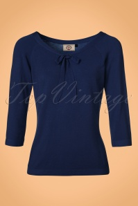 50s Pretty Illusion Top in Night Blue