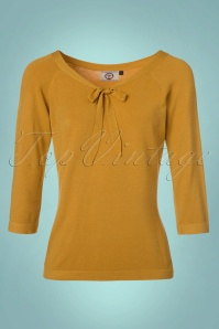 50s Pretty Illusion Top in Mustard