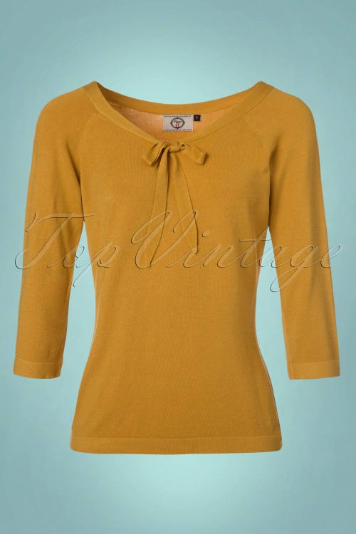 Dancing Days by Banned Pretty Illusion Mustard Bow Top 113 80 23280 20171025 0003W
