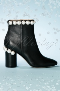 60s Opearl Leather Ankle Booties in Black