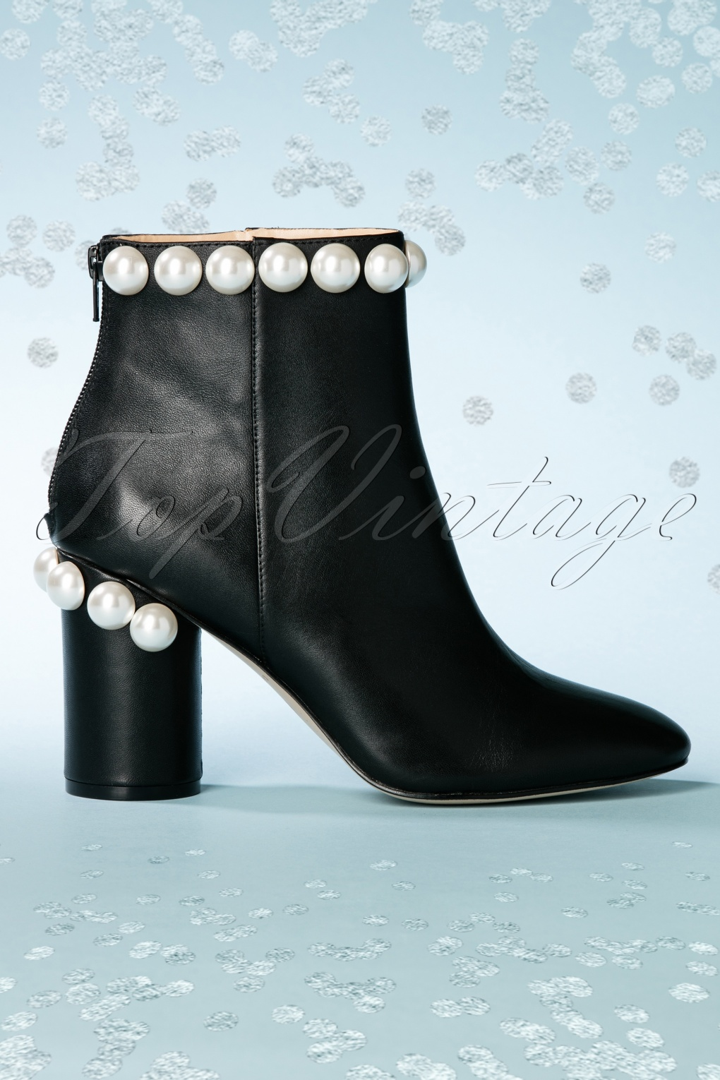 Retro Boots, Granny Boots, 70s Boots 60s Opearl Leather Ankle Booties in Black £165.11 AT vintagedancer.com