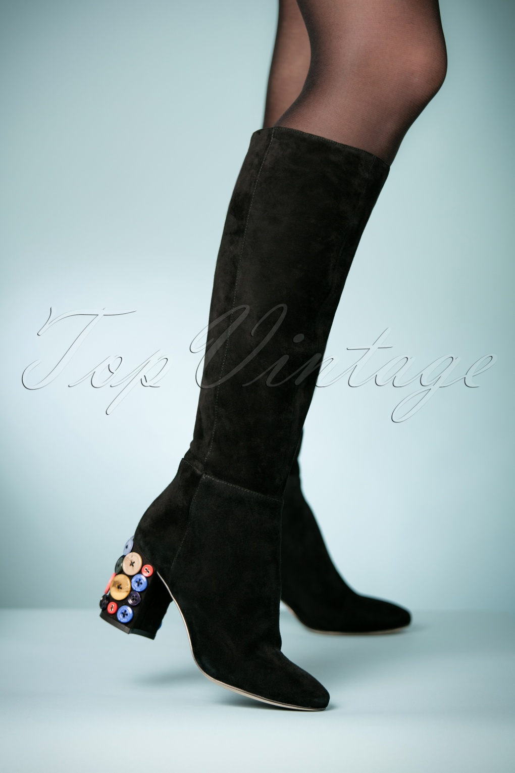 Retro Boots, Granny Boots, 70s Boots 70s Saari Suede Boots in Black £191.33 AT vintagedancer.com