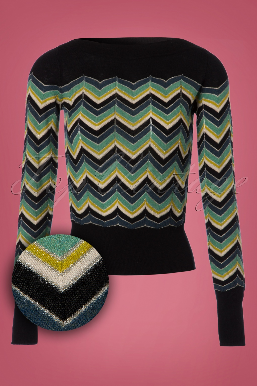 Vintage Sweaters: Cable Knit, Fair Isle Cardigans & Sweaters 60s Audrey Messina Top in Storm Blue £65.50 AT vintagedancer.com