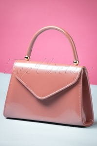 60s Lillian Lacquer Flap Bag in Vintage Pink