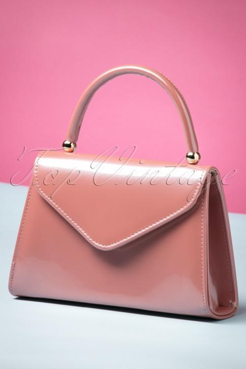 La Parisienne 60s Lillian Laque Handbag in Dark Pink 212 22 23822 20171024 0013w