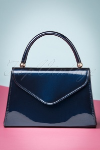 La Parisienne 60s Lillian Laque Handbag in Blue 212 30 23823 20171024 0015w