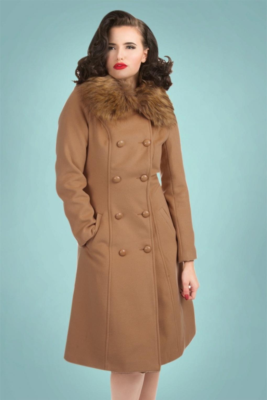 1950s Jackets and Coats | Swing, Pin Up, Rockabilly 50s Chrissette Coat in Beige £91.71 AT vintagedancer.com