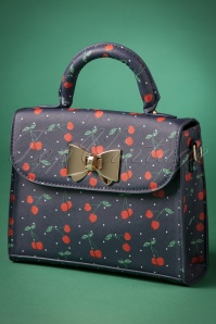 50s Bessa Cherry Polka Handbag in Blue