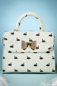 50s Bessa Black Swans Handbag in Cream