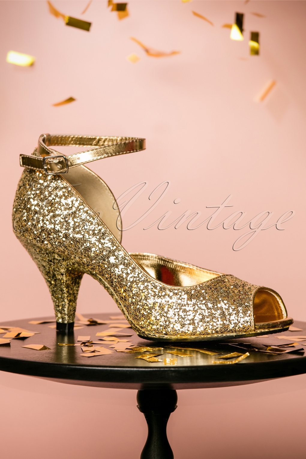 1930s Style Shoes – Art Deco Shoes 20s Belle DOrsay Peeptoe Glitter Pumps in Gold £69.86 AT vintagedancer.com
