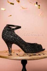 Fabulicious Black Glitter Pump 403 10 23813 26102017 007W