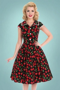 50s Marcia Cherry Swing Dress in Black