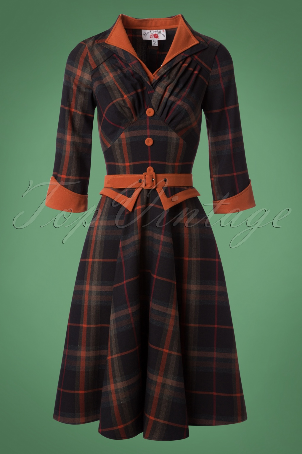 Pin Up Dresses | Pin Up Clothing 50s Brianna Tartan Swing Dress in Navy and Rust £96.08 AT vintagedancer.com