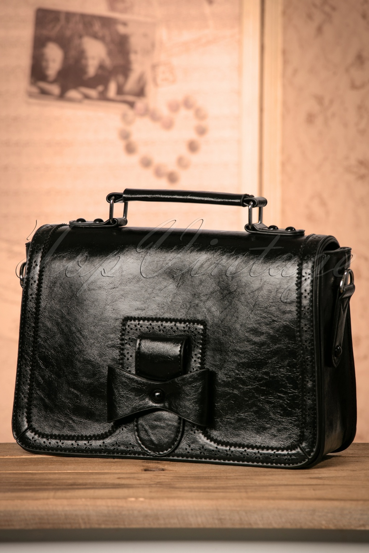 1940s Handbags and Purses History 50s Scandal Office Handbag in Black £35.60 AT vintagedancer.com