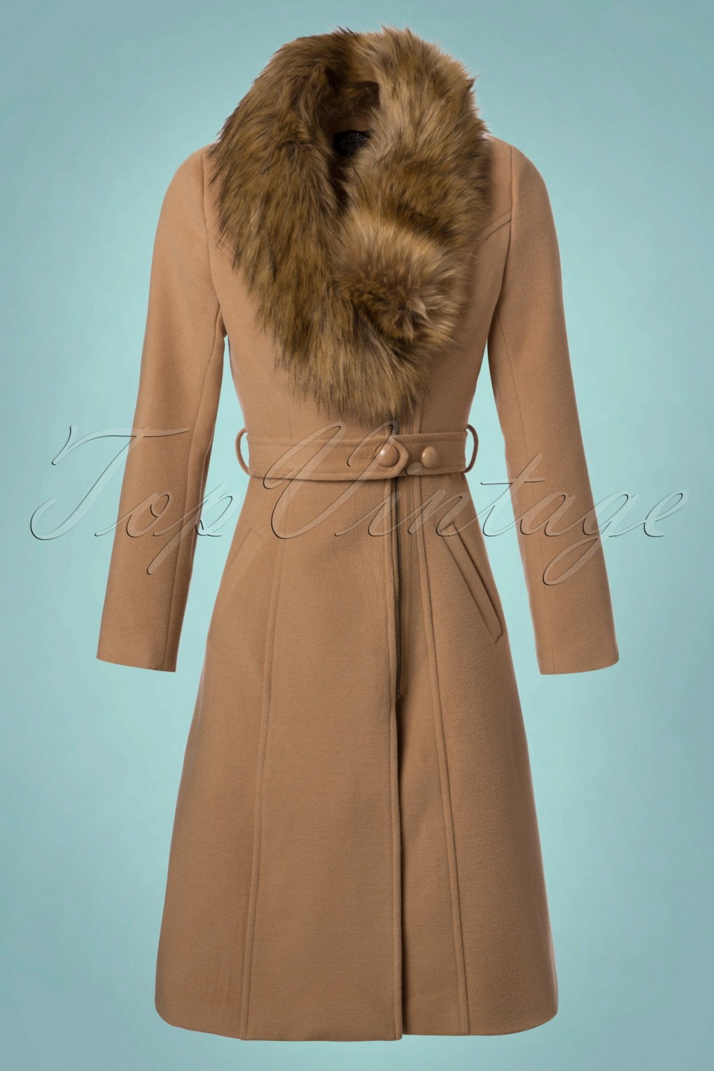 1950s Jackets and Coats | Swing, Pin Up, Rockabilly 50s Fabiola Coat in Beige £96.08 AT vintagedancer.com